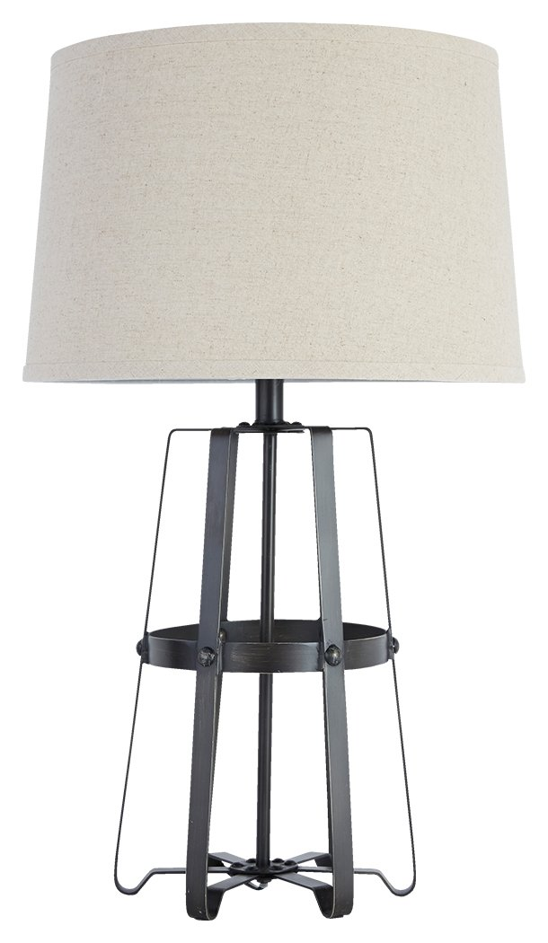 Ashley Furniture Signature Design - Samiya Metal Table Lamp - Industrial - Riveted Accents - Antique Black