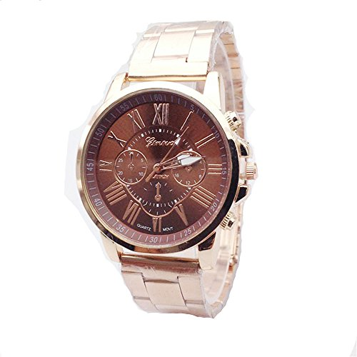 Geneva Mens Womens Unisex Stainless Steel 2380-Gold-GEN Gold Tone Classic Faux Chronograph Analog Quartz WristWatch-BROWN Face