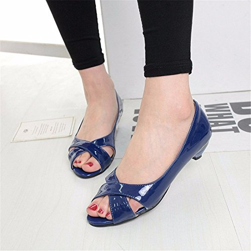 Zapatos de Zapatos Tacón Shoes Women's Cuero con Pescado Boca Singles blue de Simple RFF Sandalias de UgEpq1