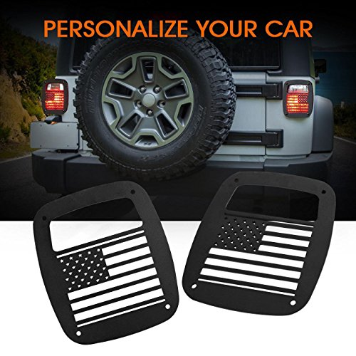 POWLAB 2Pcs Black Exterior Rear Tail Light Guard Cover Protect Shade U.S. Flag Shape Hollow Out for Jeep Wrangler 1987-2006 TJ YJ