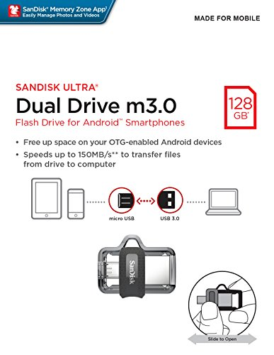 SanDisk Ultra 128GB Dual Drive m3.0 for Android Devices and Computers (SDDD3-128G-G46)