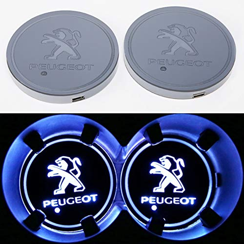 - monochef Auto sport 2PCS LED Cup Holder Mat Pad Coaster with USB Rechargeable Interior Decoration Light (Peugeot)