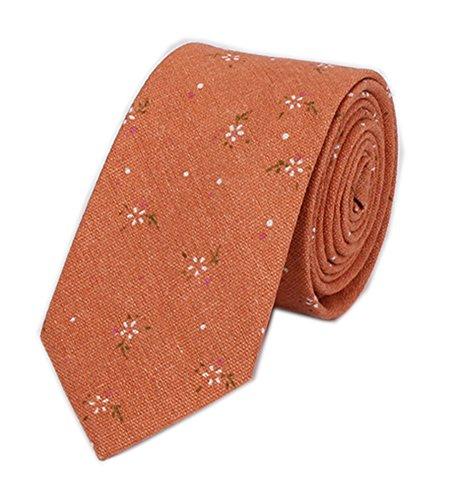 Men Boy Orange White Flowers Silk Cravat Colorful Business Formal Ties for (Orange Silk Narrow Ties)