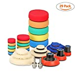SPTA 29pcs Drill Buffing Pad Detail Polishing Pad Mix Size Kit with 5/8-11 Thread Backing pad & Adapters for Car Sanding, Polishing, Waxing, Sealing Glaze
