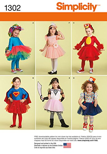 SIMPLICITY 1302 CHILD / GIRL COSTUMES: Rainbow Pony, Superhero,Feathery bird, Clown, Flapper ,Pirate (SIZE 1/2 - 4) W/ KNIT LEGGINGS SEWING (Supergirl Costume Pattern)