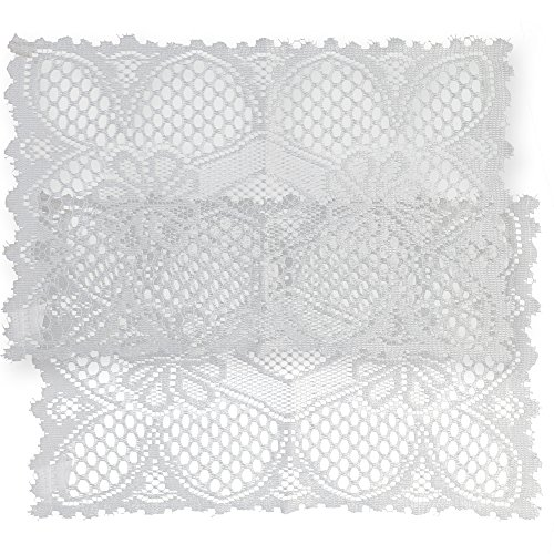 Home-X Rectangular Lace Doilies. Set of 2. Cream or White (White)