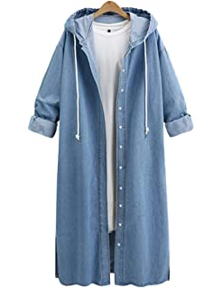 f39e2ae091c15 Innifer Women s Long Sleeve Plus Size Long Jean Jacket Denim Windbreaker  Outwear Coat with Hood