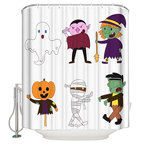 TAOGAN Happy Halloween Funny Cartoon Character Clipart Nontoxic Polyester Fabric Shower Curtain Bathroom Decor Waterproof Standard Size72x72 -