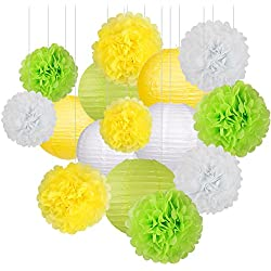 15Pcs Party Pack Paper Lanterns and Pom Pom Balls Hanging Decoration for Wedding Birthday Baby Shower-Yellow/Green/White