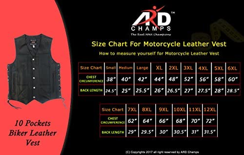ARD Mens Distressed Leather 10 Pockets Motorcycle Biker Vest New SMALL