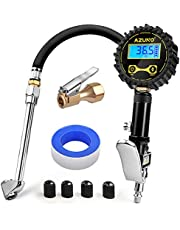 AZUNO Digital Tire Inflator with Pressure Gauge, 200 PSI, Heavy Duty Air Compressor Accessories, w/Rubber Hose Lock on Air Chuck and Quick Connect Coupler