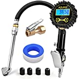 AZUNO Digital Tire Inflator with Pressure Gauge, 200 PSI Heavy Duty Air Compressor Accessories, w/Rubber Hose Lock on Air Chuck and Quick Connect Coupler