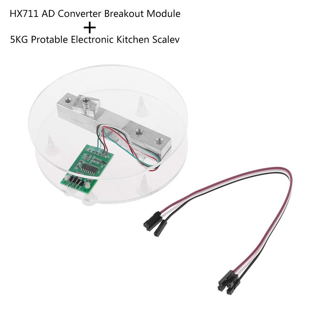 FXCO Digitale W/ägezelle Gewichtssensor HX711 AD Wandler Breakout Modul 5 KG Tragbare Elektronische K/üchenwaage Drucksensor F/ür Arduino Skala