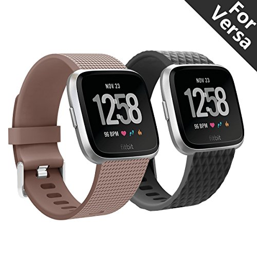 Kutop for Fitbit Versa Band 2pcs,Bands for Smart Watch Comfortable Soft TPE Sports Waterproof Replacement Fitbit Versa Strap for Both Men and Women ()