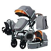 PrinzBaby Stroller/Bassinet + Car Seat - Baby Diaper Bag (Silver Frame)