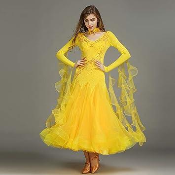 premium selection 189e0 7375c Liu Sensen Moderne Mode 2018 Dance Kleid Gelbe Organza Latin ...