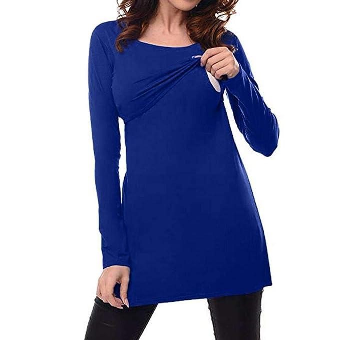 QinMM Camiseta de Lactancia Maternidad Lisos Camisa Mujer Blusa Breastfeeding Embarazadas Premamá Primavera otoño Tops (