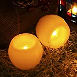 LED Flickering Flameless Votive Candles With Timer, GreenClick Amber Light Tea Light Candles Led Real Wax Tealights CR2032 Battery Operated Realistic Window Candles Gift Boxes, 2 Pcs Pack