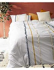 Flber Fringed Duvet Cover Washed Cotton Boho Bedding, Queen King
