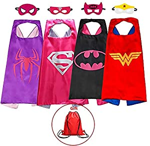 Superhero Capes and Masks Kids Dress up Costumes Set of 4 Boys & Girls Birthday Party Supplies Bonus a Bag