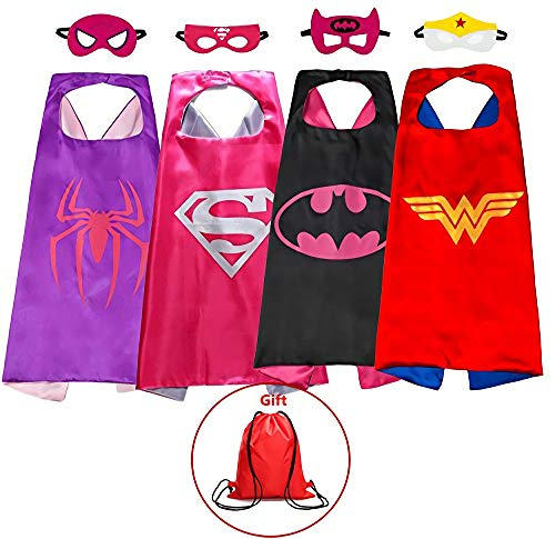 Superhero Capes and Masks Kids Dress up Costumes Set of 4 Boys & Girls Birthday Party Supplies Bonus a Bag ()