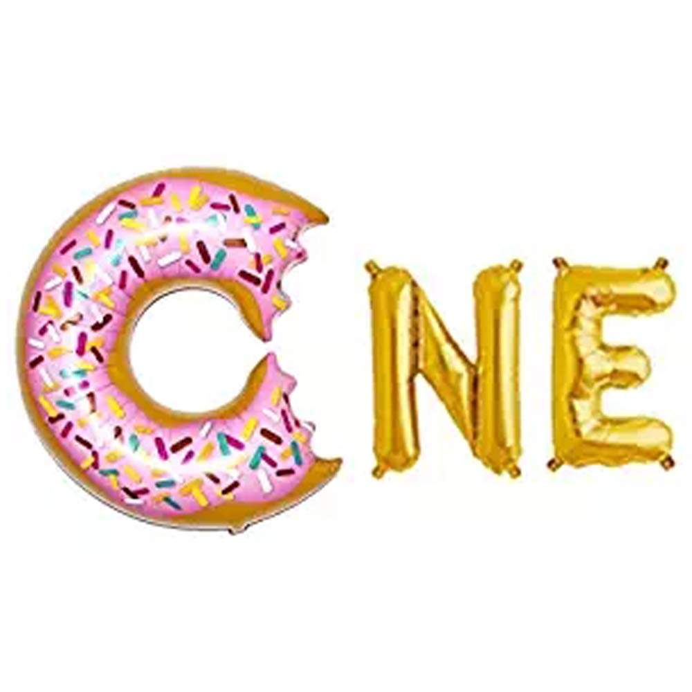 AnnoDeel 16inch ONE Letter Donut Foil Balloon,Gold ONE Donut Mylar Balloons for Baby Shower First Birthday Donut 1 Year Donut Theme Party Decorations