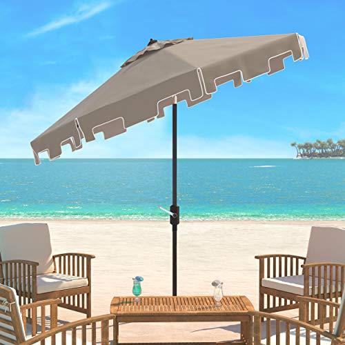 - Safavieh PAT8000C Outdoor Collection Zimmerman Crank Market Umbrella with Flap, Beige