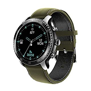 Tinwoo Smart Watch for Android / iOS Phones, Health Tracker with Heart Rate Monitor, Bluetooth Sports Monitor Tracker, GPS Digital Smartwatches for Women Men, 5ATM Waterproof (PU Band Green)