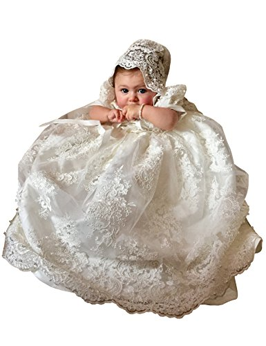 - Aorme White Baptism Dress Beading Lace Long Christening Gowns For Girls With Bonnet