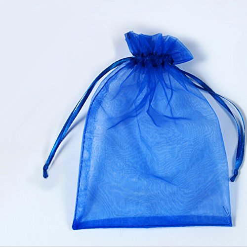 385b14da4704 BZCTAH 100 Pcs Transparent Organza Bags Drawstring Jewelry Bags, 20 x 30cm  Multicolor with Drawstring Gift Pouch Candy Bags,Blue#4