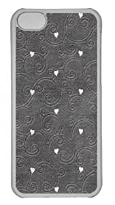 Hearts pattern embroidered Polycarbonate Hard Case Cover for iPhone 5C Transparent wangjiang maoyi