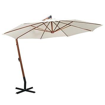 Vidaxl Hanging Parasol 350cm Wooden Pole White Garden Patio Umbrella Sunshade