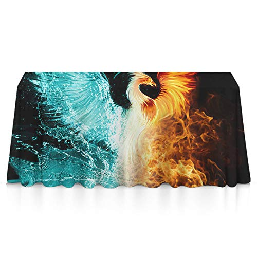 GOAEACH Table Cloth, Spillproof Stain Resistant Table Covers, Rectangular Square Cool Fire Flame Phoenix Bird Machine Washable Table Protectors for Indoor Or Outdoor Parties ()