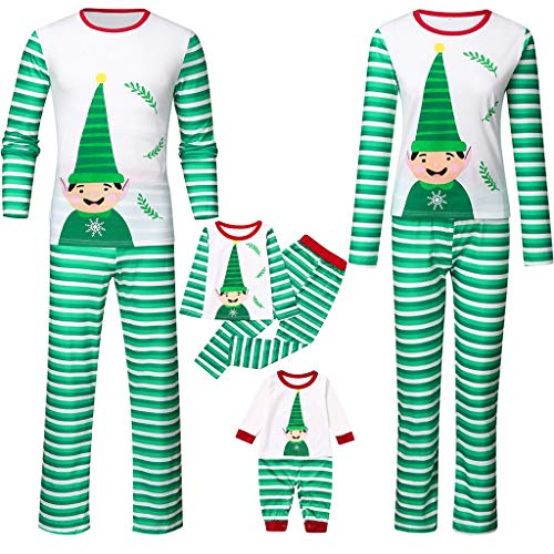 Santa Claus Family Matching Christmas Pajamas Set,Crytech Infant Baby Romper Cartoon Top Striped Lounge Pant for Women Men Children Xmas Holiday Sleepwear Pjs Outfit Clothes (3-4 Years, Toddler)