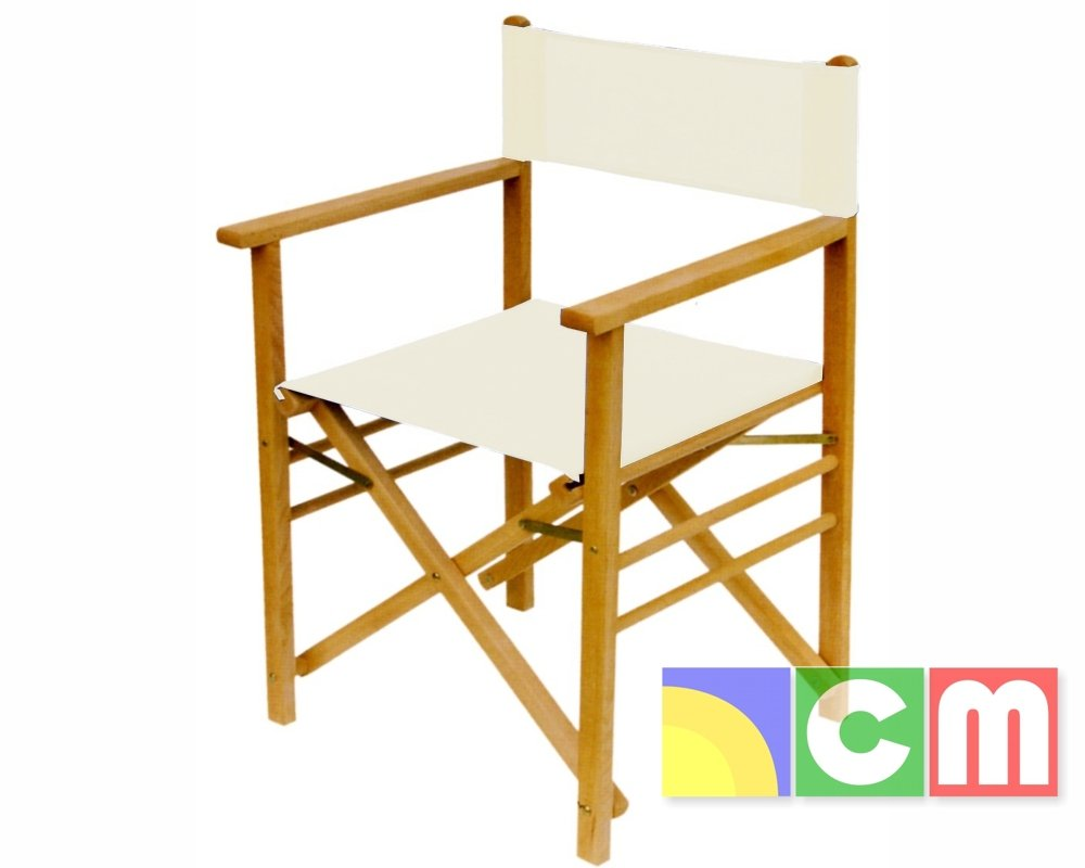 Sedia regista FELLINI in legno di faggio, tela in cotone CM Garden