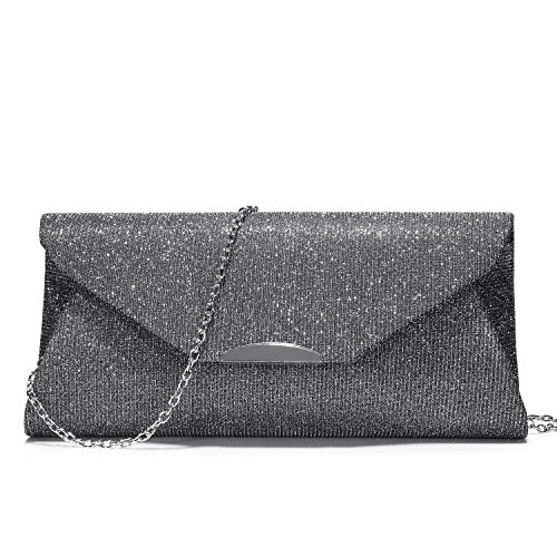 Evening Bags and Clutches for Women Designer Handbags Purse for Party Wedding Prom (Silver Gray Bag)