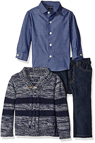 Nautica Baby Three Piece Set with Woven, Striped Shawl Sweater, Denim Jean, Sport Navy, 18 Months
