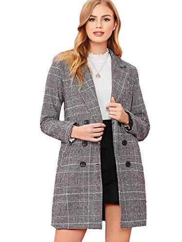 SheIn Women's Lapel Collar Coat Long Sleeve Plaid Blazer Outerwear