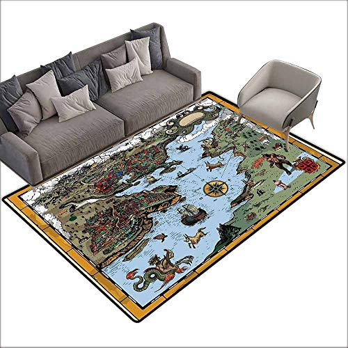 Polyester Non-Slip Doormat Rugs Colorful Compass,Antique Map Rivers