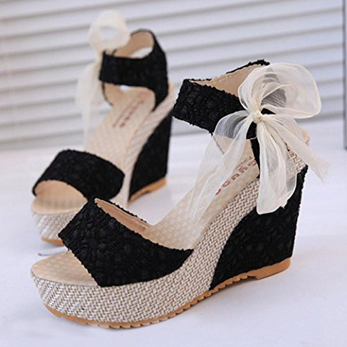 Inkach Womens Wedges Sandals - Fashion Summer Platform Sandals Chunky Heel Flip Flops Loafers Shoes Black 9w8LOxUL