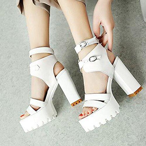 Easemax Mujeres Stylish Gladiador Stappy Hebillas Open Toe Platform Sandalias De Tacón Alto Grueso Blanco