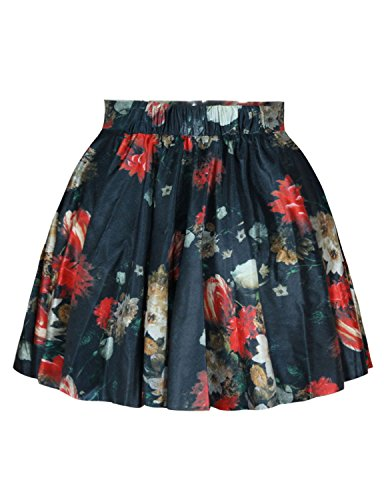 Womens Floral Flowers Digital Print Stretchy Flared Pleated Casual Mini Skirt,OS