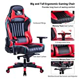KILLABEE Big and Tall 400lb Memory Foam Gaming Chair - Adjustable Tilt, Back Angle and 3D Arms Ergonomic High-Back Leather Racing Executive Computer Desk Office Chair, Red
