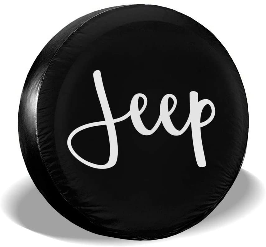 Jeep Cursive Spare Tire Cover PVC Leather Waterproof Dust-Proof Wheel Tire Cover Fit for Jeep Liberty Wrangler SUV Camper Travel Trailer Accessories