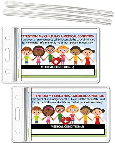 My Child Has a Medical Condition ICE Alert in Case of Emergency I.D. Identification Wallet Card Heavyweight 32 Pt. CardStock - Our Thickest (Qty. 2 w/Sealable Pouches)