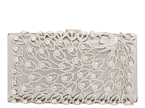 Compact Ladies Evening Box Cocktail 3D KTL2243 Clutch Bag Silver Diamante Women's Handbag aq4pwd