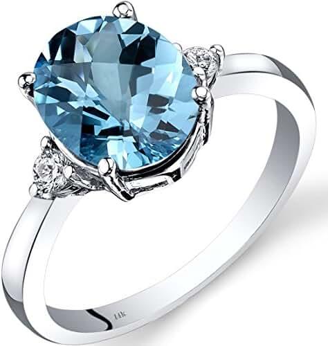 14K White Gold Swiss Blue Topaz Diamond Ring 2.75 Carat Oval Cut