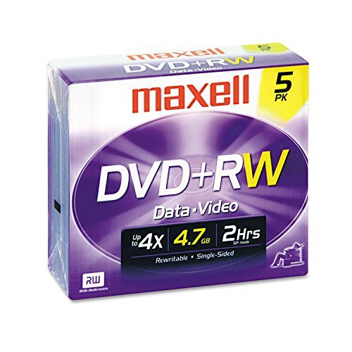Dvd+rw Discs, 4.7gb, 4x, W/jewel Cases, Silver, 5/pack by Maxell