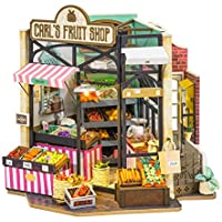 ROBOTIME DIY Dollhouse with Furniture Miniature Room Kit for Adults 1:24 Scale Dollhouse - Carl's Fruit Shop