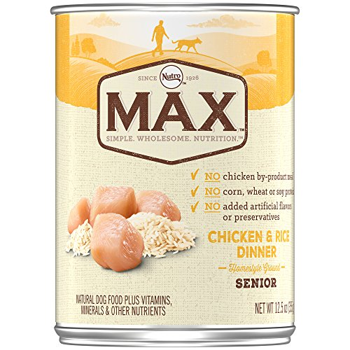 Nutro MAX Senior Chicken and Rice Dinner Canned Dog Food, Ho
